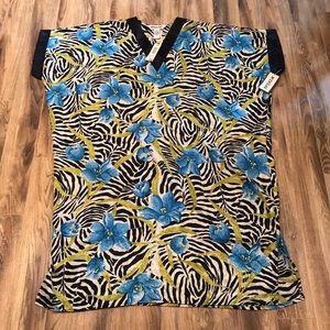Winlar Zebra Print With Blue Flower Kimono Dress